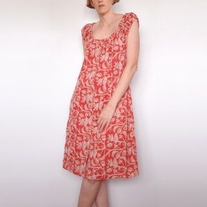 SUZANNE GRAE Rust Floral Embroidered Cotton Dress